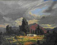 Jacob Hendrik Pierneef 'Plaastoneel en berge' woodcut