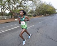 Helalia Johannes leads the field during the Spar Womans Challenge in Pietermaritzburg, 18 August 2019. Picture: Rogan Ward